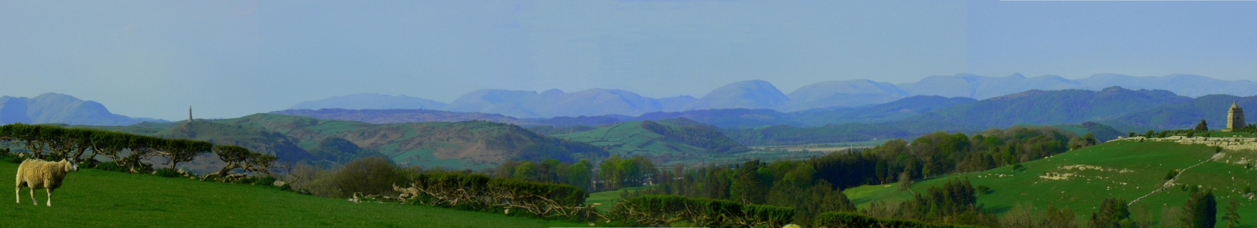 Panoramic view of the distant Lake District